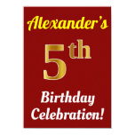 [ Thumbnail: Red, Faux Gold 5th Birthday Celebration + Name Invitation ]