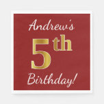 [ Thumbnail: Red, Faux Gold 5th Birthday + Custom Name Paper Napkin ]
