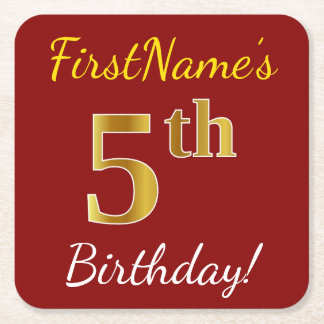 Red, Faux Gold 5th Birthday + Custom Name Square Paper Coaster