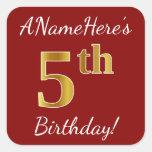 [ Thumbnail: Red, Faux Gold 5th Birthday + Custom Name Sticker ]