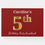 [ Thumbnail: Red, Faux Gold 5th Birthday Party + Custom Name Guest Book ]