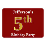 [ Thumbnail: Red, Faux Gold 5th Birthday Party + Custom Name Invitation ]