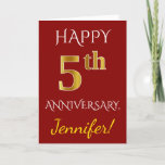 [ Thumbnail: Red, Faux Gold 5th Wedding Anniversary + Name Card ]