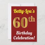 [ Thumbnail: Red, Faux Gold 60th Birthday Celebration + Name Invitation ]