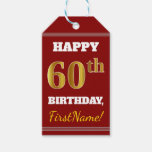 [ Thumbnail: Red, Faux Gold 60th Birthday + Custom Name Gift Tags ]