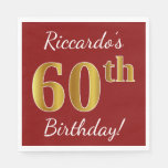 [ Thumbnail: Red, Faux Gold 60th Birthday + Custom Name Paper Napkin ]