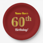 [ Thumbnail: Red, Faux Gold 60th Birthday + Custom Name Paper Plate ]