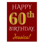 [ Thumbnail: Red, Faux Gold 60th Birthday + Custom Name Postcard ]