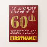 [ Thumbnail: Red, Faux Gold 60th Birthday + Custom Name Puzzle ]