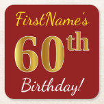 [ Thumbnail: Red, Faux Gold 60th Birthday + Custom Name Paper Coaster ]