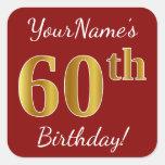 [ Thumbnail: Red, Faux Gold 60th Birthday + Custom Name Sticker ]
