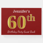 [ Thumbnail: Red, Faux Gold 60th Birthday Party + Custom Name Guest Book ]
