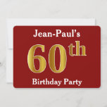 [ Thumbnail: Red, Faux Gold 60th Birthday Party + Custom Name Invitation ]