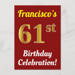 [ Thumbnail: Red, Faux Gold 61st Birthday Celebration + Name Invitation ]