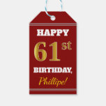 [ Thumbnail: Red, Faux Gold 61st Birthday + Custom Name Gift Tags ]