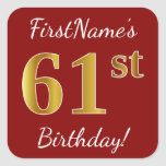 [ Thumbnail: Red, Faux Gold 61st Birthday + Custom Name Sticker ]