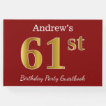 [ Thumbnail: Red, Faux Gold 61st Birthday Party + Custom Name Guest Book ]