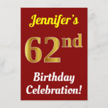 [ Thumbnail: Red, Faux Gold 62nd Birthday Celebration + Name Invitation ]