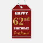 [ Thumbnail: Red, Faux Gold 62nd Birthday + Custom Name Gift Tags ]