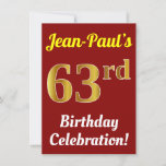 [ Thumbnail: Red, Faux Gold 63rd Birthday Celebration + Name Invitation ]