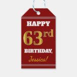 [ Thumbnail: Red, Faux Gold 63rd Birthday + Custom Name Gift Tags ]