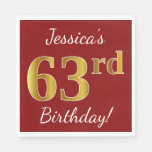 [ Thumbnail: Red, Faux Gold 63rd Birthday + Custom Name Napkin ]