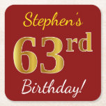 [ Thumbnail: Red, Faux Gold 63rd Birthday + Custom Name Paper Coaster ]