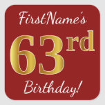 [ Thumbnail: Red, Faux Gold 63rd Birthday + Custom Name Sticker ]