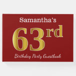 [ Thumbnail: Red, Faux Gold 63rd Birthday Party + Custom Name Guest Book ]