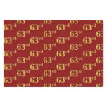 [ Thumbnail: Red, Faux Gold 63rd (Sixty-Third) Event Tissue Paper ]