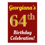 [ Thumbnail: Red, Faux Gold 64th Birthday Celebration + Name Invitation ]