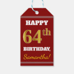 [ Thumbnail: Red, Faux Gold 64th Birthday + Custom Name Gift Tags ]