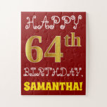 [ Thumbnail: Red, Faux Gold 64th Birthday + Custom Name Puzzle ]