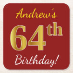 [ Thumbnail: Red, Faux Gold 64th Birthday + Custom Name Paper Coaster ]