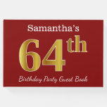 [ Thumbnail: Red, Faux Gold 64th Birthday Party + Custom Name Guest Book ]