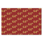 [ Thumbnail: Red, Faux Gold 64th (Sixty-Fourth) Event Tissue Paper ]