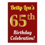 [ Thumbnail: Red, Faux Gold 65th Birthday Celebration + Name Invitation ]