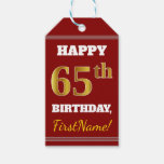 [ Thumbnail: Red, Faux Gold 65th Birthday + Custom Name Gift Tags ]
