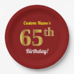 [ Thumbnail: Red, Faux Gold 65th Birthday + Custom Name Paper Plate ]