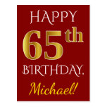 [ Thumbnail: Red, Faux Gold 65th Birthday + Custom Name Postcard ]