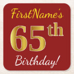 [ Thumbnail: Red, Faux Gold 65th Birthday + Custom Name Paper Coaster ]
