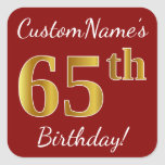 [ Thumbnail: Red, Faux Gold 65th Birthday + Custom Name Sticker ]