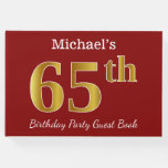 [ Thumbnail: Red, Faux Gold 65th Birthday Party + Custom Name Guest Book ]