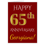 [ Thumbnail: Red, Faux Gold 65th Wedding Anniversary + Name Card ]
