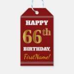 [ Thumbnail: Red, Faux Gold 66th Birthday + Custom Name Gift Tags ]