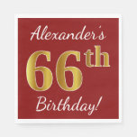 [ Thumbnail: Red, Faux Gold 66th Birthday + Custom Name Paper Napkin ]
