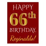 [ Thumbnail: Red, Faux Gold 66th Birthday + Custom Name Postcard ]