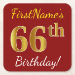 [ Thumbnail: Red, Faux Gold 66th Birthday + Custom Name Paper Coaster ]
