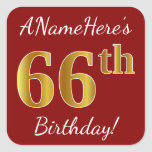 [ Thumbnail: Red, Faux Gold 66th Birthday + Custom Name Sticker ]