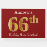 [ Thumbnail: Red, Faux Gold 66th Birthday Party + Custom Name Guest Book ]